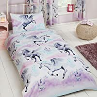 Price Right Home Stardust Unicorn Single Duvet Cover and Pillowcase Set - Purple and Teal