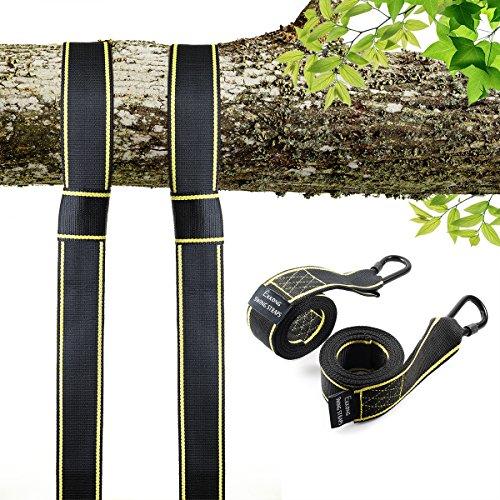 EKKONG NEU - Swing und Hängematte Hanging Gurt Kit - Zwei 1.5m Straps (Hält 1600kg,), Einfache Installation für jeden Swing oder Hängematte (Schwarz&Gelb)