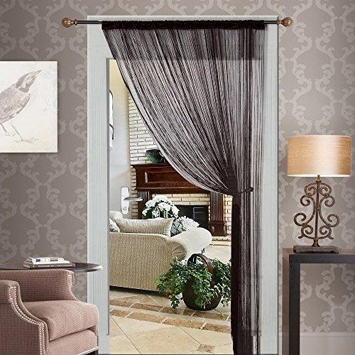 HTOYES Dekorativer Fadenvorhang mit Perlen, Wandvorhang, Schaufensterdekoration, Raumteiler, für Hochzeit, Café, Restaurant, mit Kristallquaste, Innendekoration (Schwarz)