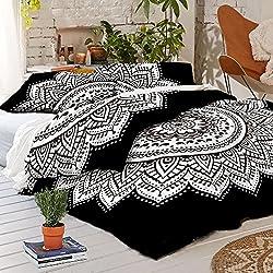 Edredón de mandala blanco y negro y funda de almohada. Gama Edredones Baratos