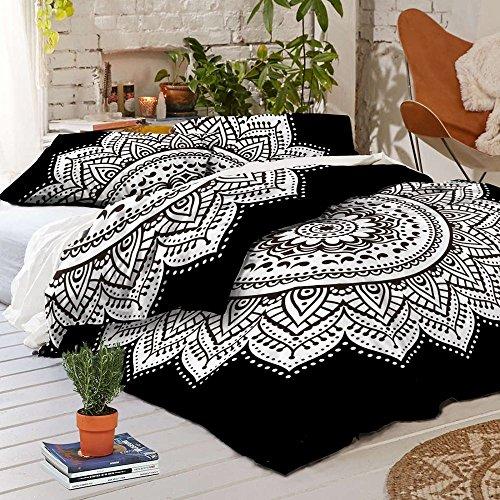 Labhanshi -Exclusiva funda de edredón con diseño mandala blanco y negro, con fundas de almohada. Ropa de cama y edredones con estampado tipo mandala.