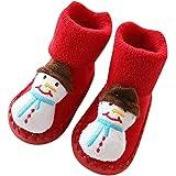 Fossen Disfraz Navidad Bebe Niña Niño Calcetines de Piso Antideslizante - Patrón de Papa Noel Arbol de Navidad Reno