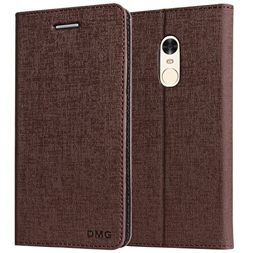 DMG Xiaomi Redmi Note 4 Cover, PU Leather Wallet Case Book Cover with Stand for Redmi Note 4 (Coffee Brown)