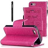 Slynmax Coque iPhone 5S,Don't Touch My Phone Motif Peint Mode PU Cuir Étui iPhone 5...