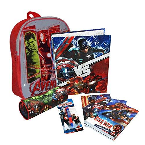 MARVEL® Avengers Official Kids Children School Travel Rucksack Backpack Bag with Zip Tube Pencil Case Set