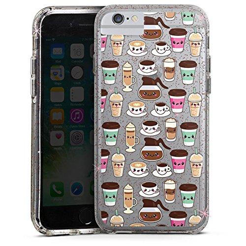 Apple iPhone 7 Bumper Hülle Bumper Case Glitzer Hülle Kaffee Coffee Kawaii Bumper Case Glitzer rose gold