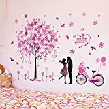 HCCY La Pintura Mural Adhesivo Caliente habitación romántica Boda de la Cama, Las Habitaciones Son Decoraciones de Pared Adhesivo Parejas Papel de Pared Autoadhesivo 120 * 82cm.