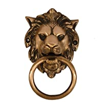 Collectible India Brass Lion Mouth Knocker Antique Victorian Ring Door Knocker, 4.1 x 3.2 Inches, Golden