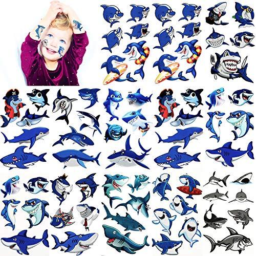 Hsei 216 Stücke Hai Temporäre Tattoos Hai Tattoo Körper Aufkleber Ozean Serie Temporäre Tattoos für Hai Thema Baby Dusche Geburtstag Party Dekoration, 54 Stile (Strand-themen-baby-dusche)