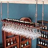 Bar Suspension Bartheke Weinregal Restaurant Haushalt Weingläser Invertiertes Rack Retro Eisenkunst Weinregale ( Farbe : A , größe : 60*30cm )