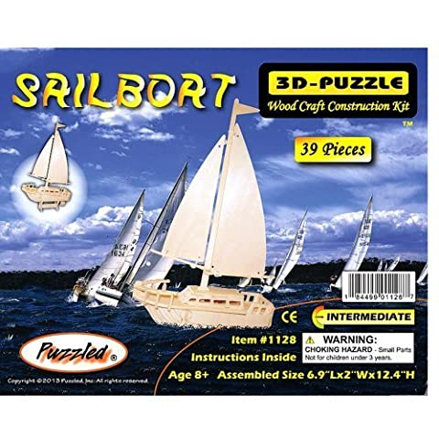 3-D Wooden Puzzle - Sail Boat -Affordable Gift for your