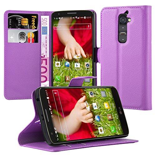 Cadorabo Hülle für LG G2 Hülle in Mangan Violett Handyhülle mit Kartenfach und Standfunktion Case Cover Schutzhülle Etui Tasche Book Klapp Style Mangan-Violett
