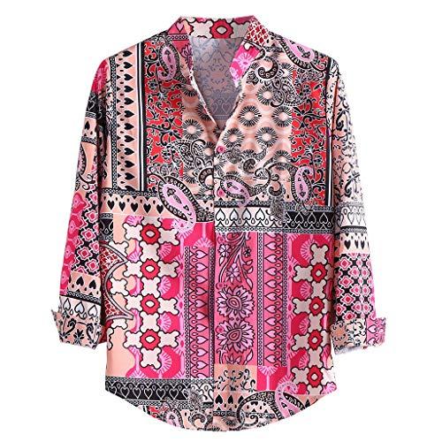 Camicia uomo etnica, feixiang camicia uomini a manica lunga camicie con pulsante shirt tinta unita maglietta, camicia fantasia uomo