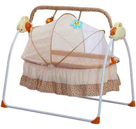 Aboyia Baby Cradle Swing Electric Stand Crib Auto Rocking Chair Newborns Bassinets Sleep Bed Music Remoter Control Mosquito Net Sleeping Basket Infant Bouncer Musical Beds Sway with Battery Pink