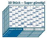 10 STÜCK - Schuljahres - Wandkalender 2015-2016 DIN A1 blau (gerollt) - Wandplaner 2015-2016 mit Ferienübersicht für alle Bundesländer (Versand nur 3€)