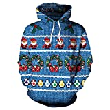 Frashing Unisex Weihnachtspullover Ugly Christmas Sweater Pullover Weihnachten Kapuzenpullover Herren Damen Lässige Hoodie Kapuzenjacke Winter-Jacke Blau