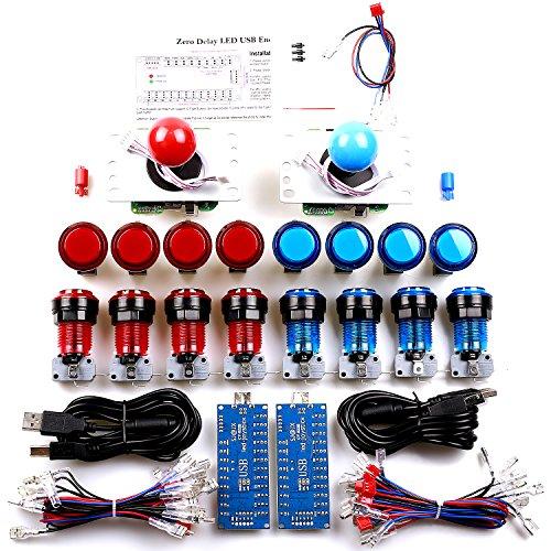 Hikig 2 Spieler Arcade Joystick Controller DIY Kit 2x USB Encoder + 2x Joystick (4/8 Way) + 20x LED Druckknopf für Raspberry Pi 3 Retro Spiele, PC MAME Arcade Spiele, PS3 Steuerung Support Alle Windows Systeme - Farbe Rot + Blau (Joystick-arcade-usb)