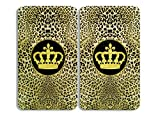 WENKO 2521452500 Herdabdeckplatte Universal Krone - 2er Set, für alle Herdarten, Gehärtetes Glas, 30 x 1.8-4.5 x 52 cm, Mehrfarbig