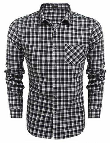 L'Amore Mens Classic Shirts Long Sleeve Checked Slim Fit Casual Plaid Button Down