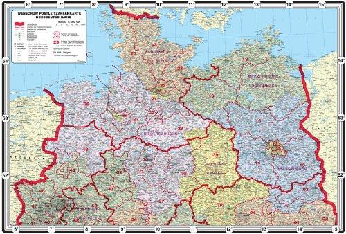 Mega XXL Bundesländerkarte mit Postleitzahlen - Norddeutschland - LED - Leucht Pinnwand Landkarte, matt antireflexierend laminiert (beschreib- und abwaschbar), im Alurahmen gerahmt silber matt