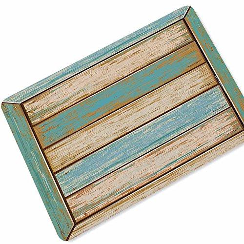YIWAN Holzplatte Druck Gummiteppich wasserabsorbierende rutschfeste Wohnzimmer Badezimmertür Matte Bodenmatte mit Rahmen horizontalen Streifen Holzbodenmatte 40 * 60cm
