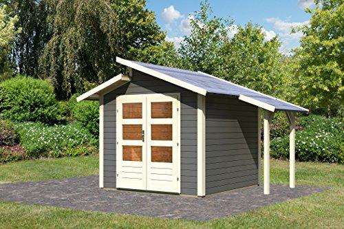 Karibu Gartenhaus Grönelo mit Schleppdach terragrau 28 mm