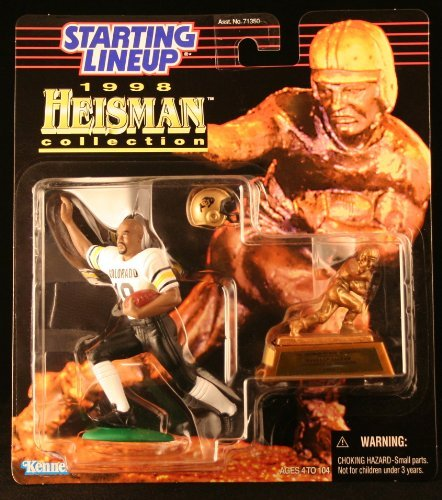 RASHAAN SALAAM / UNIVERSITY OF COLORADO BUFFALOES * 1998 NCAA College Football HEISMAN COLLECTION Starting Lineup Action Figure, Football Helmet & Miniature 1994 Heisman Memorial Trophy by Starting Line Up