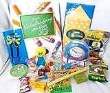 101607 Geschenktasche Schulanfang mit Karte für Junge oder Mädchen gefüllt mit Spielsachen & Süßigkeiten Lernwecker Sorgenfresser Flummi etc.