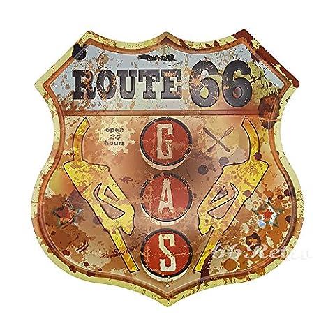 66retro Route 66Gas Uhr, geprägt Metall blechschild, Vintage Wand Deko Schild