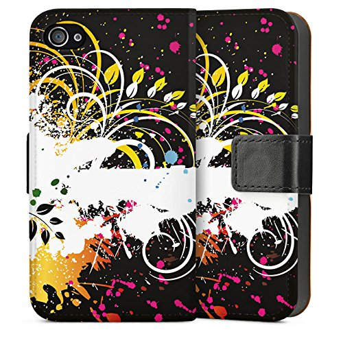 Apple iPhone 4 Housse Étui Silicone Coque Protection Ornement Fleur couleurs Sideflip Sac