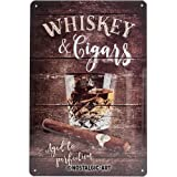 Nostalgic-Art 22257 Open Bar - Whiskey | Retro Blechschild | Vintage-Schild | Wand-Dekoration | Metall | 20x30 cm