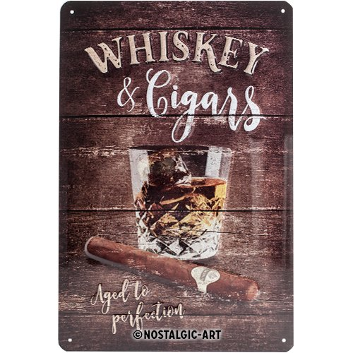 Nostalgic-Art 22257 Open Bar - Whiskey | Retro Blechschild | Vintage-Schild | Wand-Dekoration | Metall | 20x30 (Wand Dekorationen)