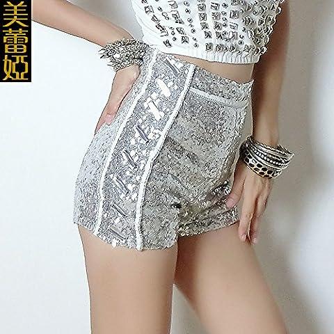 CU@EY Pantalons pour femmes Sequins taille haute performance,vêtements,L'argent