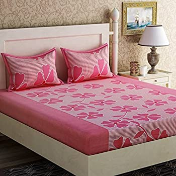 Zesture Bring Home Shufflekart 120 TC Cotton Double Bedsheet And 2 Pillow  Covers   Multicolour