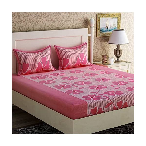 Shufflekart 100% Cotton Double bedsheet with Two Pillow Covers-Pink