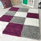 Hochflor Shaggy Teppich kariert in versch. Farben und Größen Langflor Teppiche für Wohnzimmer und Jugendzimmer. (160 x 230 cm, Violett)