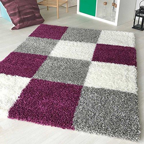 mynes Home Hochflor Shaggy Teppich kariert in versch. Farben und Größen Langflor Teppiche für Wohnzimmer und Jugendzimmer. (120 x 170 cm, Violett)