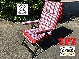 EUROLANDIA 91796 R2 - Lotto di 2 Sedie a Sdraio Confort Plus Rosse Reclinabili in 5 Posizioni