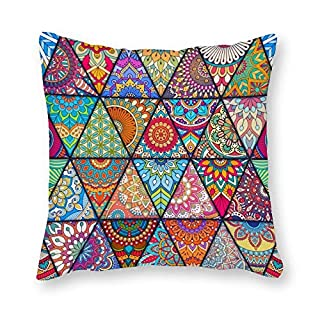 DKISEE Decorative Square Throw Pillow Cover Ethnic Floral Seamless Pattern Pillow Case Cushion Protector for Couch, Sofa, Bedroom, Car, 18x18 inch/45x45cm