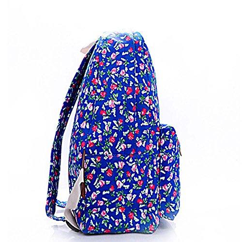 Stampa Zaino Floreale Canotta Zaino Tempo libero Knapsack Daypack Borsa scolastica per lavorare week-end Holiday Weekend Scuola di Picnic Fiore blu e tulipano