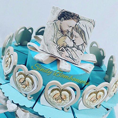 Bomboniere Nascita Battesimo Bambino Cuore Sacra Famiglia Ceramica Effetto Pietra (Torta da 12 fette)
