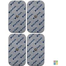 StimPads®, 50X100mm, confezione da 4 pezzi ad alte prestazioni, elettrodi TENS/EMS a lunga durata con attacco universale a bottone da 3.5mm
