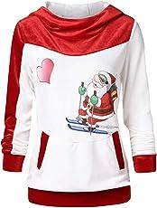 VEMOW Heißer Elegante Damen Frauen Frohe Weihnachten Weihnachtsmann Print Skew Kragen Casual Daily Party Freizeit Sweatshirt Bluse