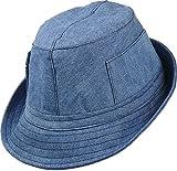 leichter Stoffhut mit seitlichen Taschen, Kopfgröße:57;Farben:jeansblau