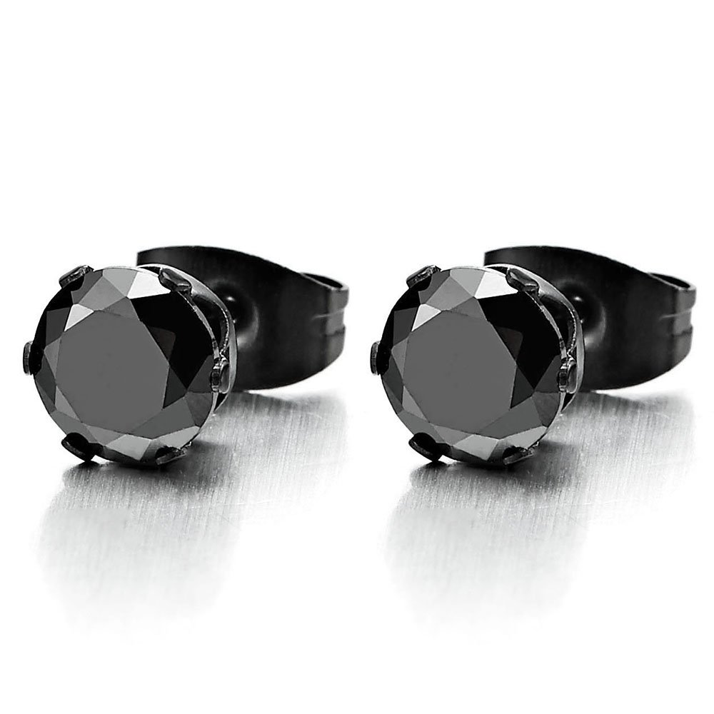 3-8MM Black Cubic Zirconia Mens Ladies Black Stud Earrings Stainless Steel, 1 Pair