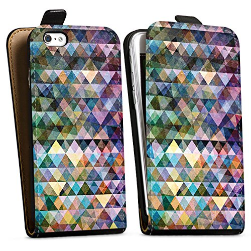 Apple iPhone X Silikon Hülle Case Schutzhülle Muster Farben Dreiecke Downflip Tasche schwarz