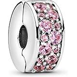 Pandora–Ciondolo Pavé lustro della clip 925in argento e zirconi rosa della 791817pcz