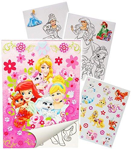 Unbekannt Sticker & Malblock -  Disney Princess - Prinzessin - Palace Pets  - Malbuch / Malblock - A5 mit Aufkleber - Rapunzel Arielle Schneewittchen - Malvorlagen Ma.. (Disney Princess Palace Pet-spielzeug)