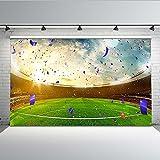 Mehofoto campo di calcio sfondo 7x5ft polycotton sport stadio partita di calcio fondali lavabili per bambini festa di compleanno decorazione fotografia di sfondo