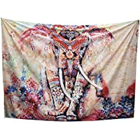 Arfbear Elephant Tapestry, wall hangings pink and purple Hippie trippy large tablecloths wall tapestry for bedroom 59*83.9inches